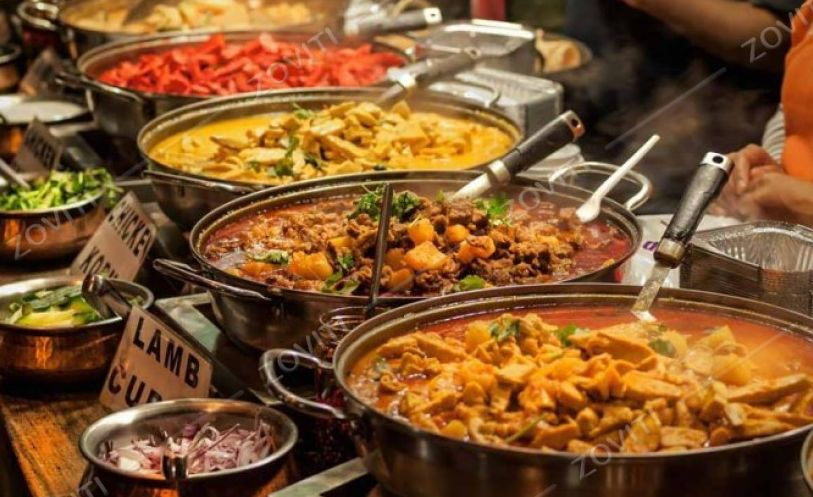 Buffet with Indian food